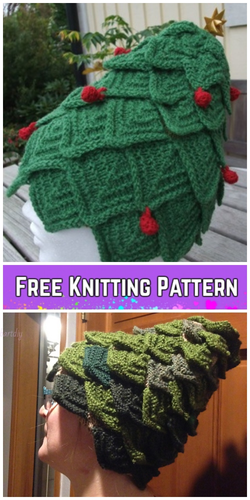 Knit Adult Christmas Tree Hat Free Knitting Pattern by Barbro Wilhelmsson