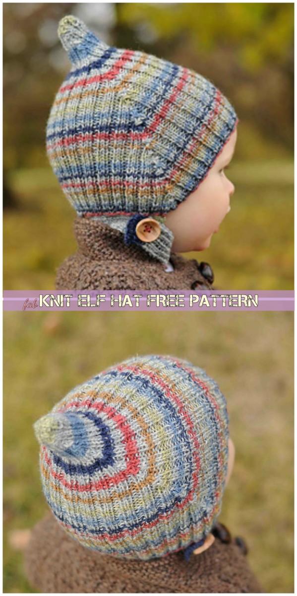 Knit Striped Elf Hat Free Pattern