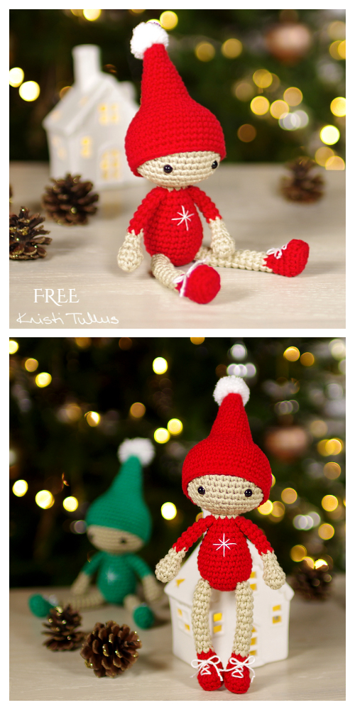 Crochet Small Christmas Elf Amigurumi Free Pattern