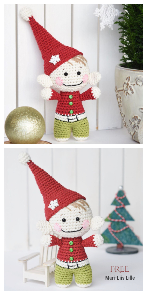 Crochet Little Christmas Elf Amigurumi Free Pattern