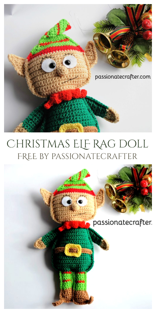 Crochet Christmas ELF Rag Doll Amigurumi Free Pattern