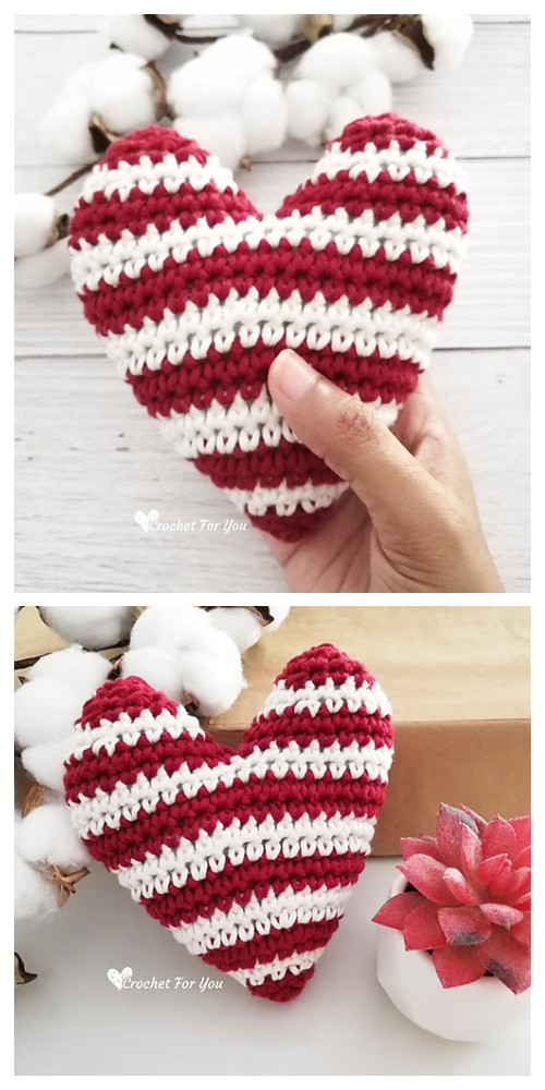 Crochet Striped Heart Amigurumi Free Patterns