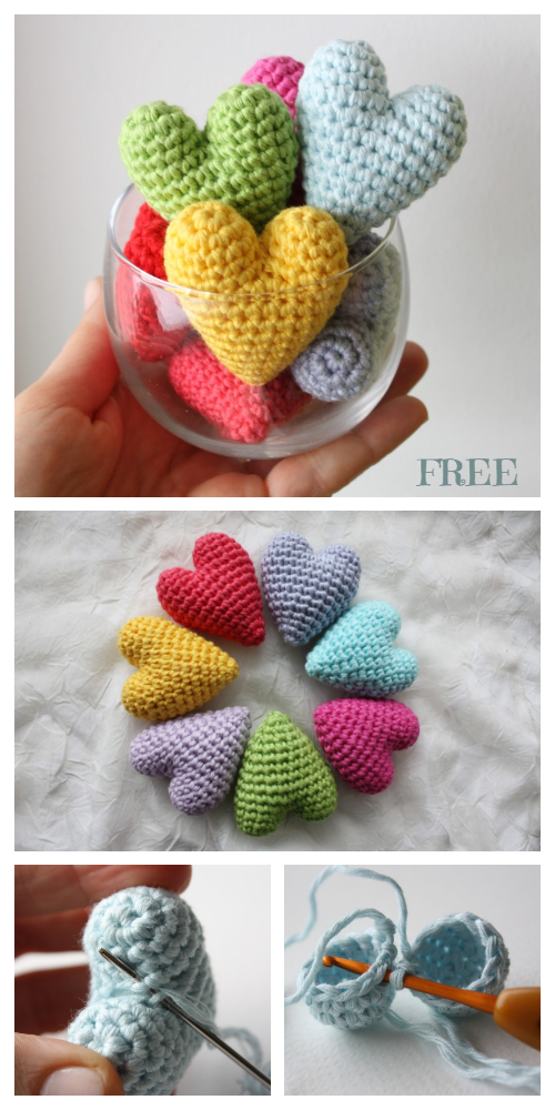 Crochet Puffy Heart Amigurumi Free Patterns