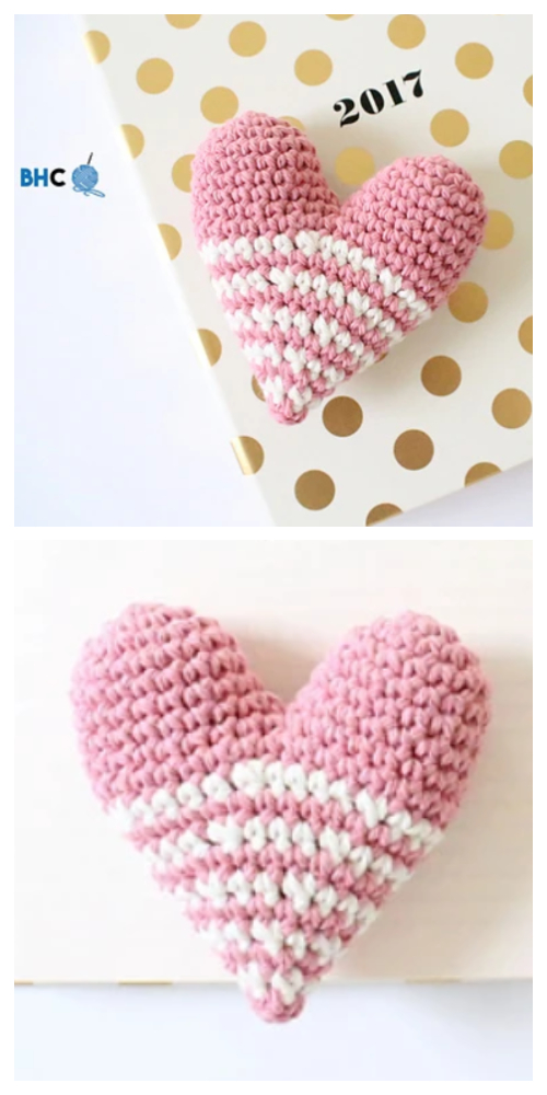 Crochet Puffy Heart Amigurumi Free Patterns + Video