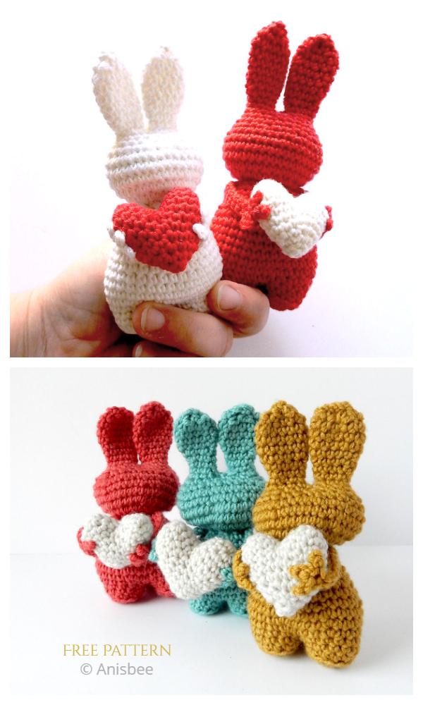 Crochet Valentine Heart Bunny Toy Amigurumi Free Pattern