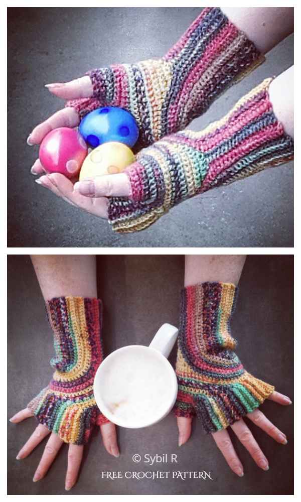 Stylish U-Turn Mitts Fingerless Gloves Free Crochet Patterns