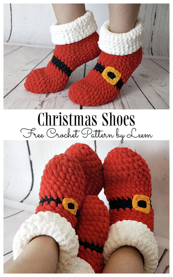 Adult Christmas Shoes Free Crochet Patterns