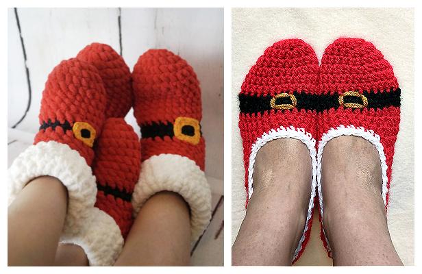Adult Christmas Santa Slippers Free Crochet Patterns