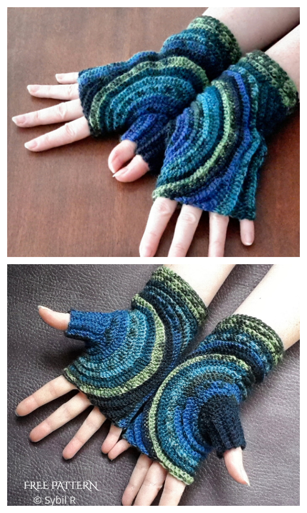 Stylish Kreisel Fingerless Gloves Free Crochet Patterns