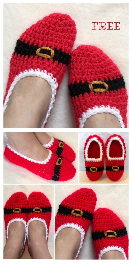 Adult Christmas Slippers Free Crochet Patterns