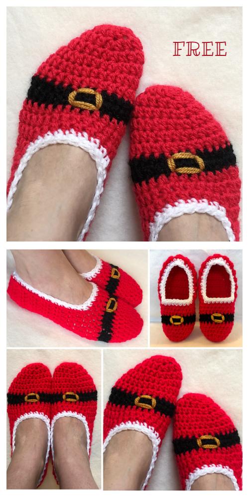 Crochet Christmas Adult Slipper Socks Free Pattern