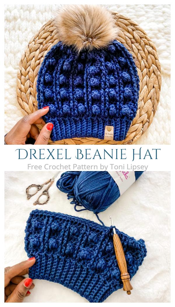 Drexel Beanie Hat Free Crochet Patterns