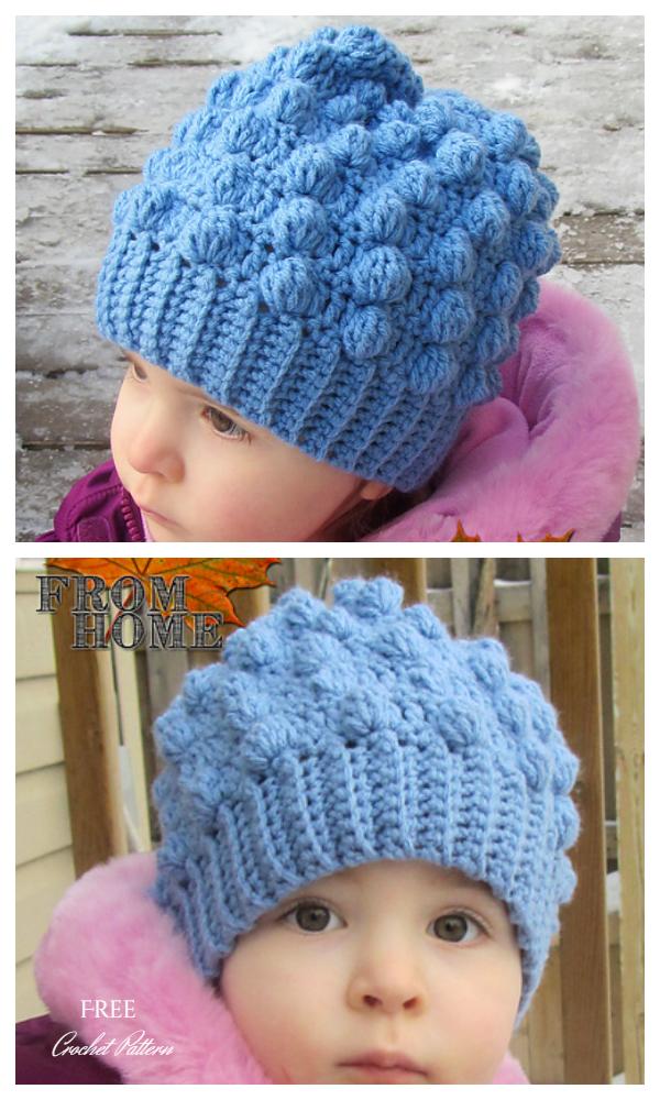Bobble Beanie Toddler Hat Free Crochet Pattern