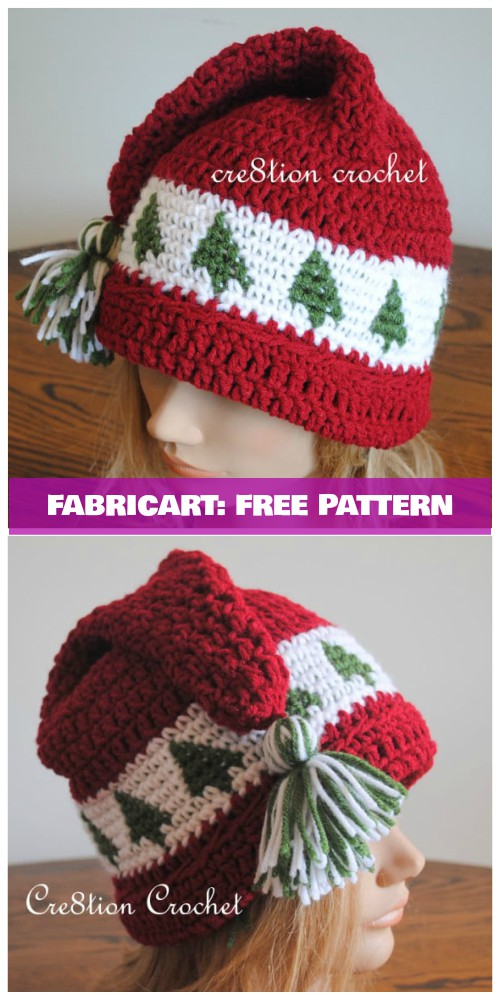 Crochet Christmas Tree Beanie Hat Free Pattern - Crochet Tree Go Around Cap Hat Free Pattern (Child to Adult)