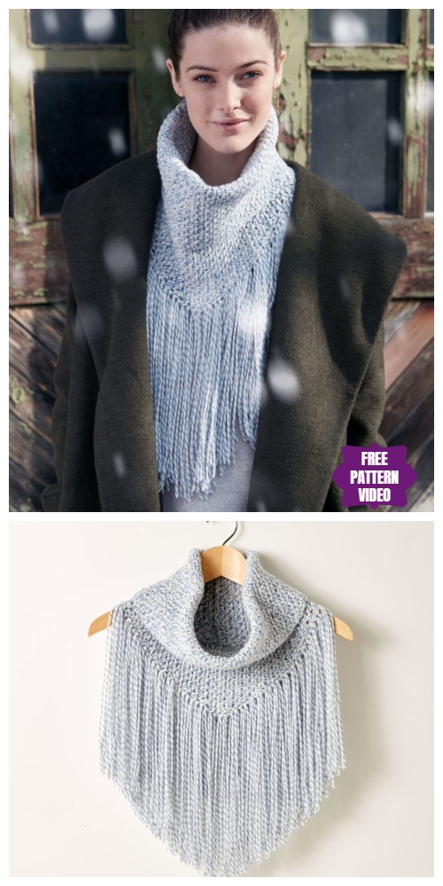 Crochet Cozy Fringed Cowl Free Pattern with Video Tutorial