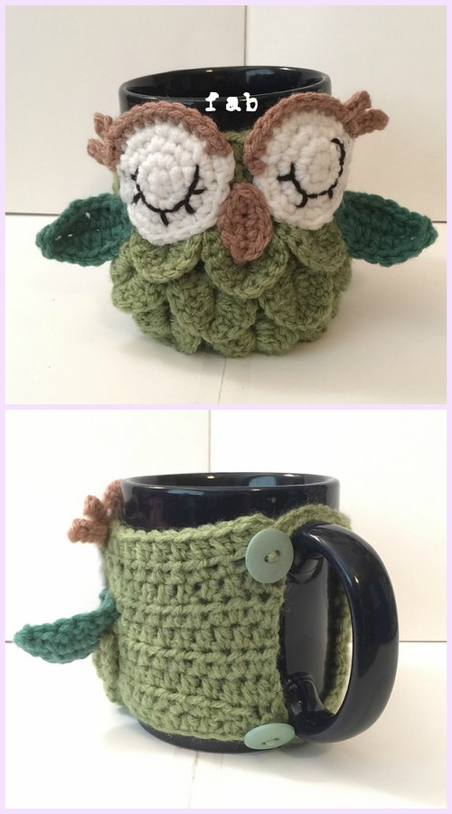 Crochet Crocodile Stitch Owl Free Patter Owl Coffee/Tea Mug Cozy Free Pattern