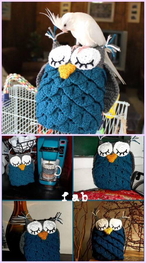 Crochet Crocodile Stitch Owl Free Patterns - Crocodile Stitch Owl Amigurumi Free Pattern