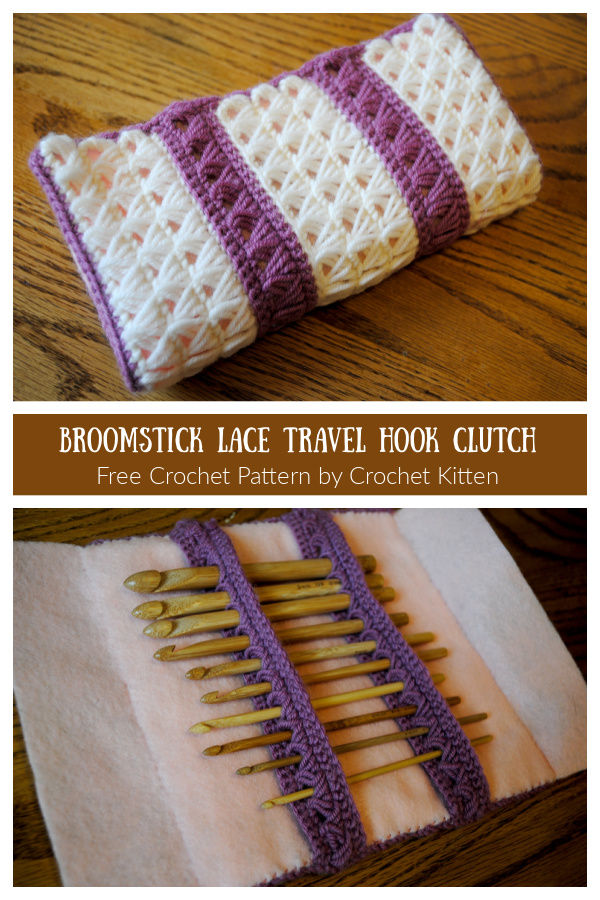 Broomstick Lace Travel Hook Clutch Free Crochet Patterns