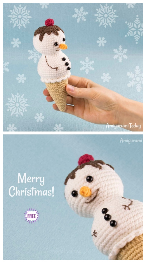 Crochet Ice Cream Snowman Amigurumi Free Patterns