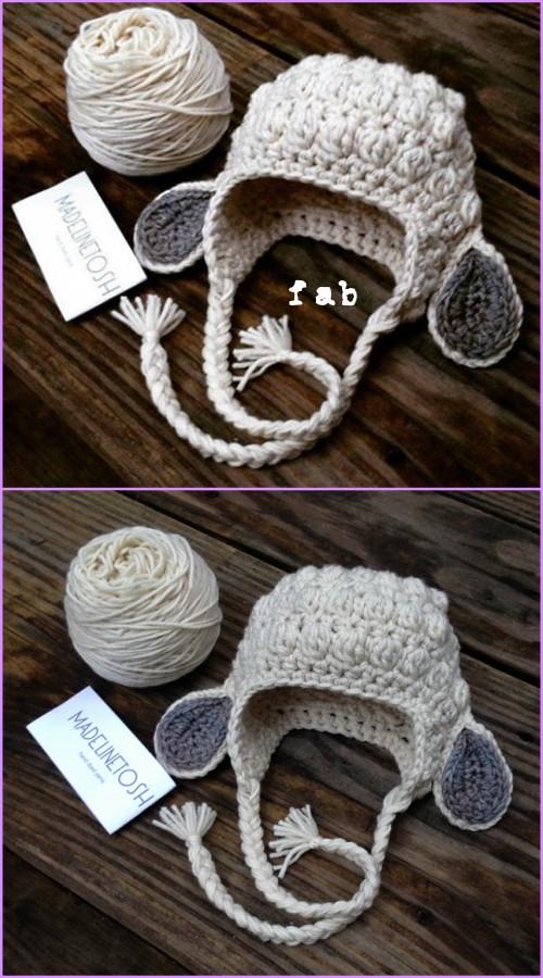 Crochet Kids Bobble Lamb Hat Free Pattern