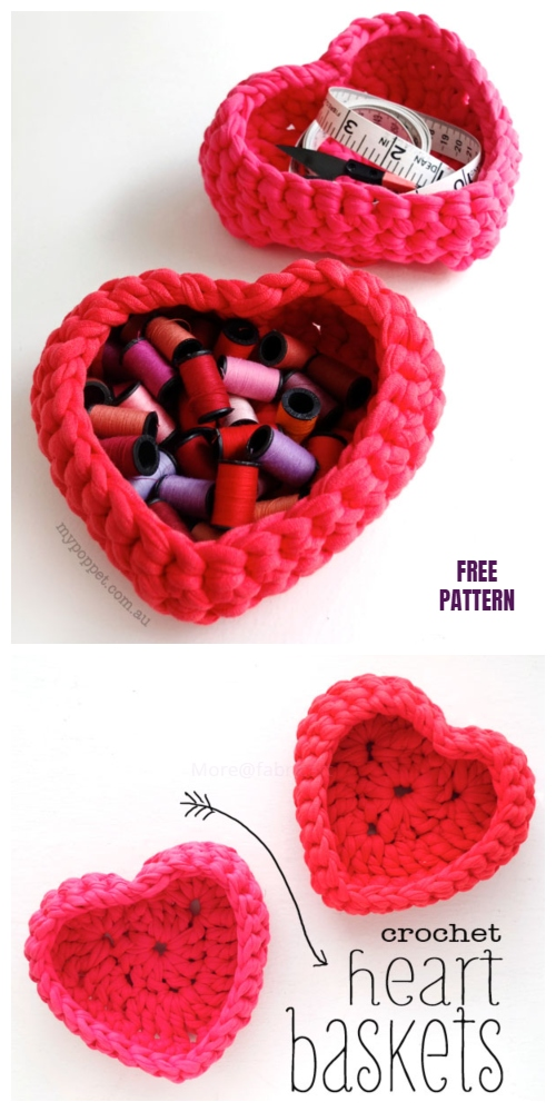 Crochet Valentine Heart Basket Free Crochet Patterns
