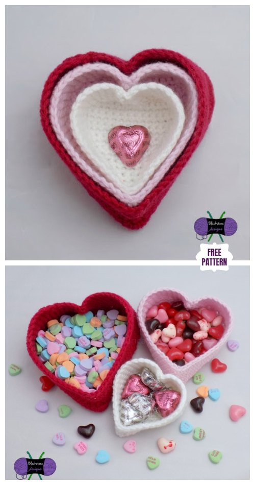 Crochet Valentine Heart Basket Free Crochet Patterns