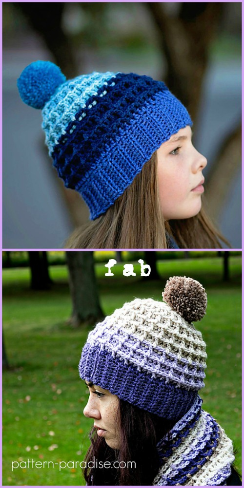 Crochet Waffle Stitch Beanies Hat Free Patterns with Video Tutorial