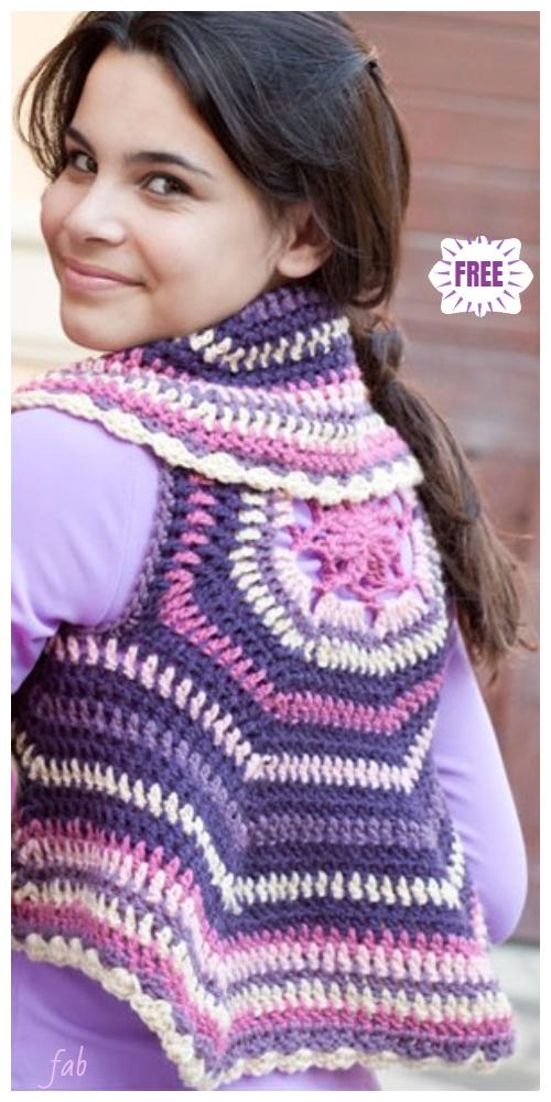 Crochet Women Circle Ripple Vest Free Patterns- Crochet Girl Circle Vest Free Pattern