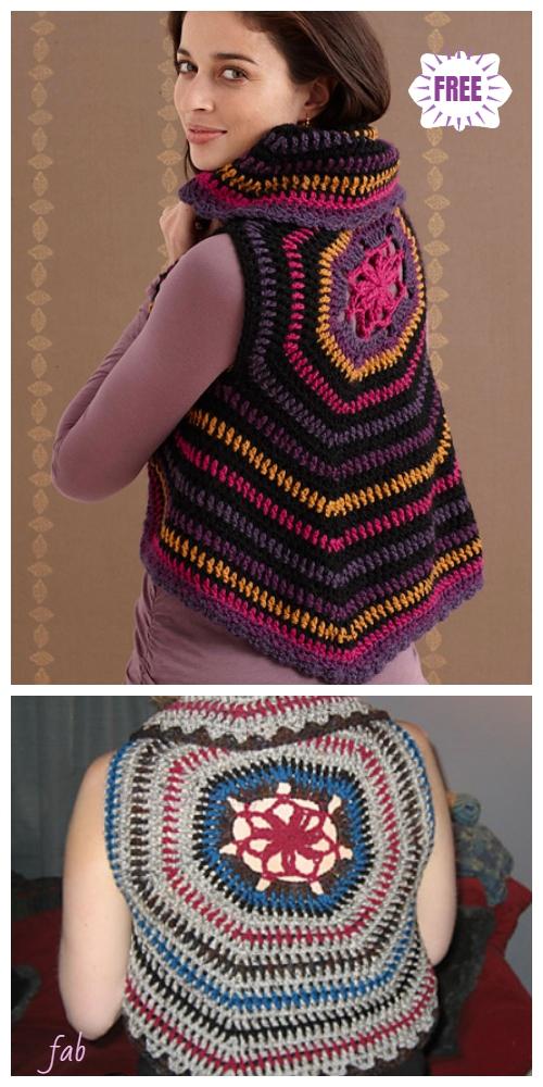 Crochet Women Circle Ripple Vest Free Patterns- Crochet Adult Circle Vest Free Pattern