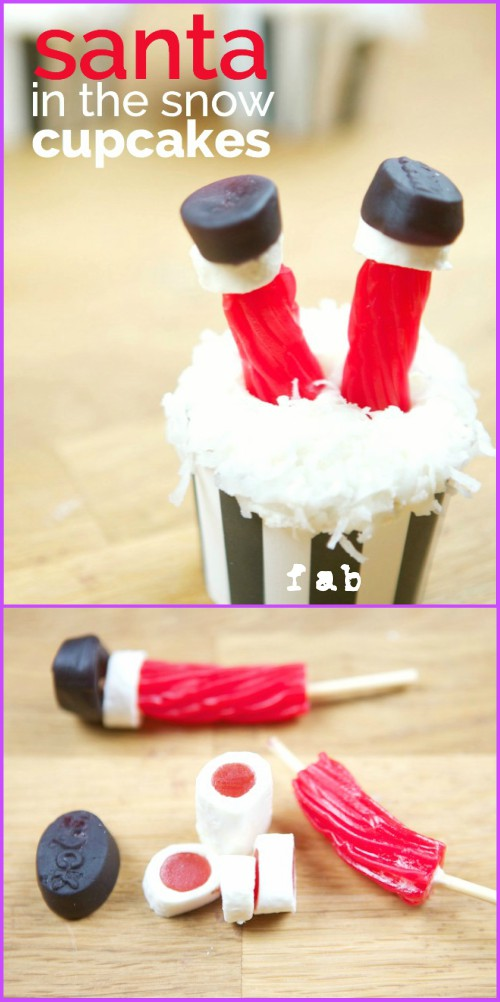 DIY Santa in the Snow Cupcakes Tutorial