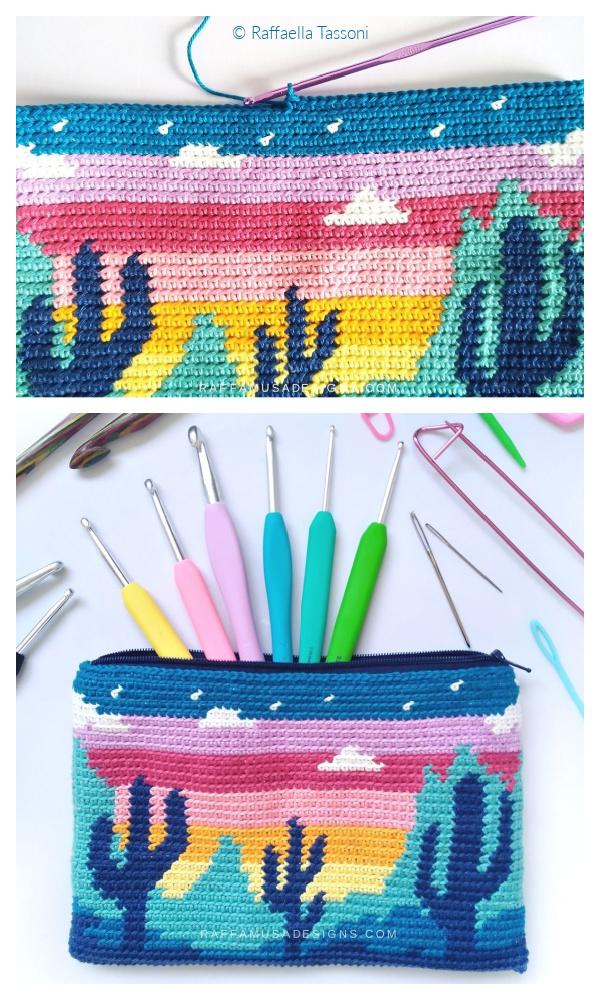 Desert Cacti Pouch Free Crochet Patterns