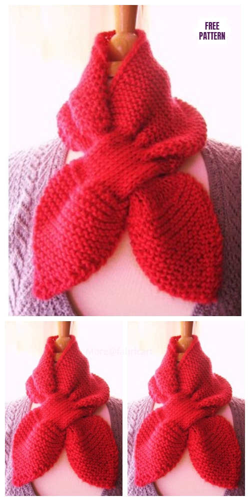 Keyhole Knit Heart to Heart Scarf Free Knitting Patterns