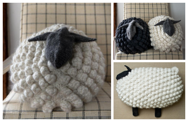 Knit Bobble Sheep Pillow Free Knitting Patterns