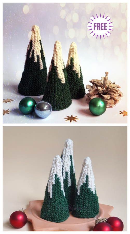 Knit Snowy Christmas Tree Free Knitting Pattern
