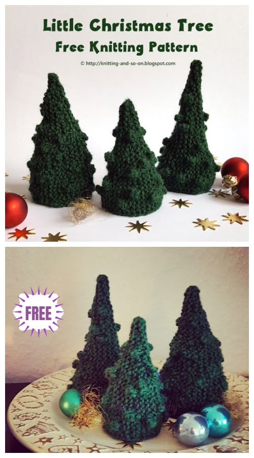 Knit Little Bobble Christmas Tree Free Knitting Pattern