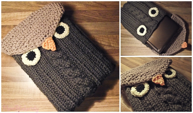 Knit Owl Notebook Sleeve Free Knitting Pattern