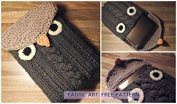 Knit Owl Notebook Sleeve Free Knitting Pattern