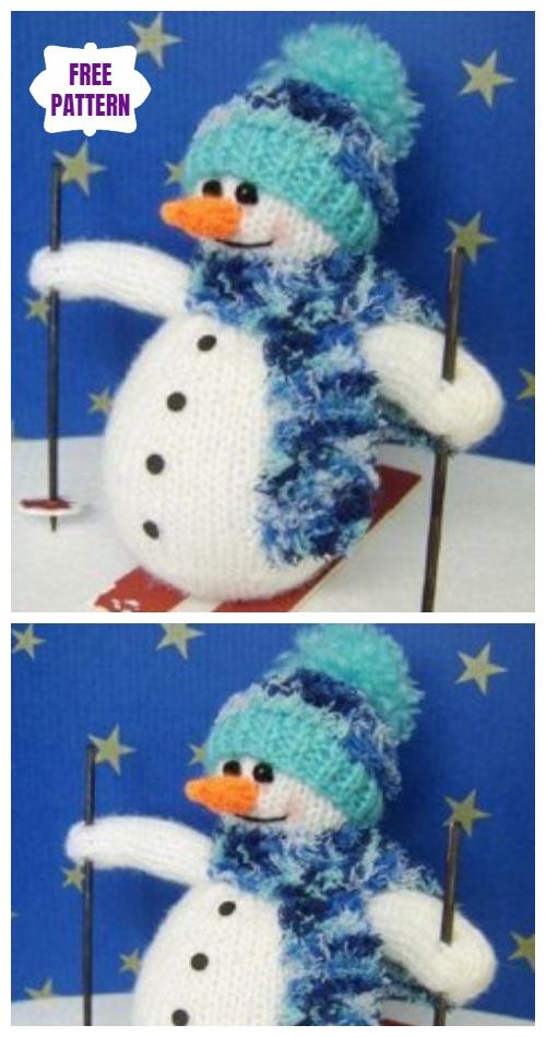 KnitSamuel Skiing Snowman Amigurumi Free Knitting Pattern