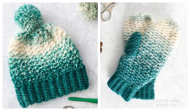 Winter Snowball Slouch Cowl, Hat & Mitten Set Free Crochet Patterns