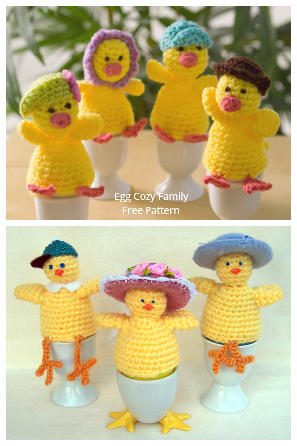 Easter Chicken Cozy Egg Family Set Free Crochet Patterns