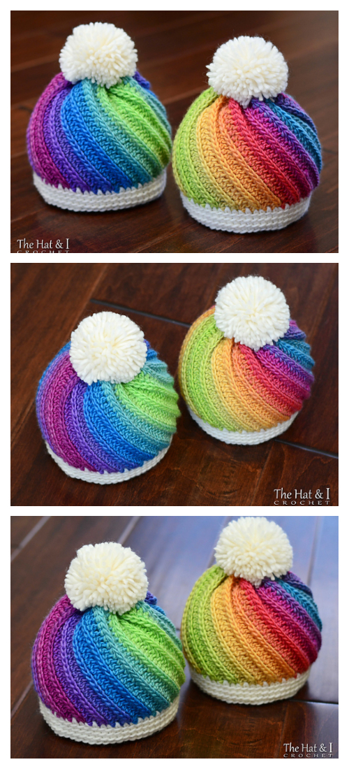 Twist Top Beanie Hat Crochet Patterns