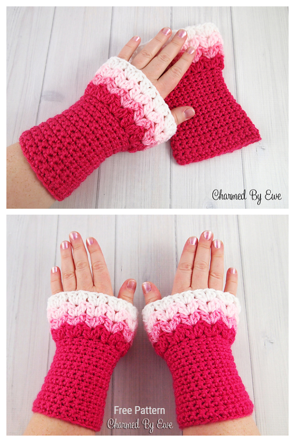 Sweetheart Wrist Warmers Free Crochet Pattern for Valentine
