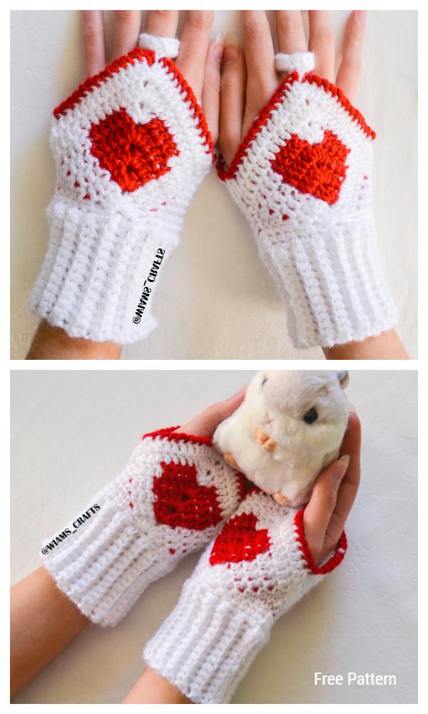 Valentines' Mittens Free Crochet Patterns