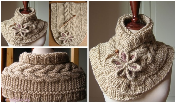 Cable Knit Scarf Neck Warmer with Flower Free Pattern