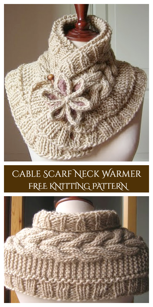 Cable Scarf Neck Warmer with Flower Free Knitting Patterns