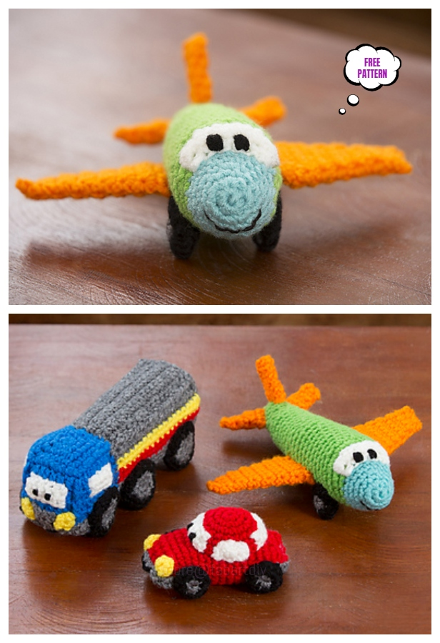 Crochet Airplane Amigurumi Free Patterns-Crochet Happy Little Car, Plane, & Truck Free Pattern