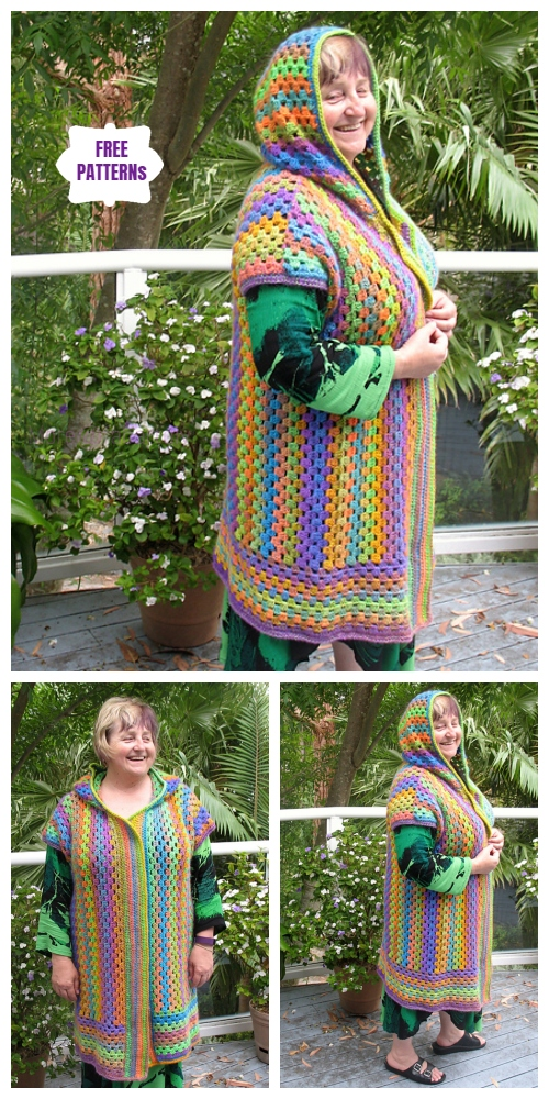 Crochet Granny Bouvardia Hooded Jacket Free Pattern