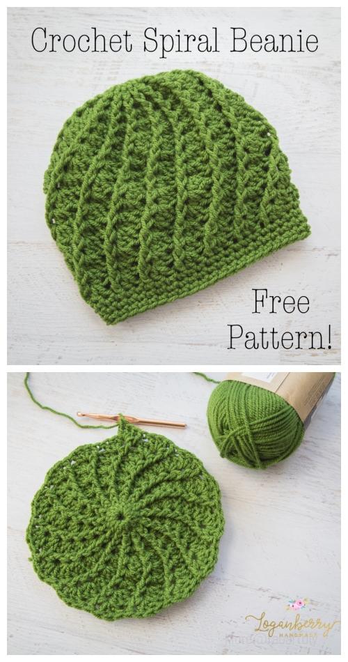 Crochet Spiral Beanie Hat Free Crochet Pattern