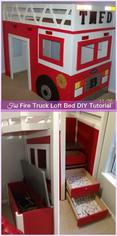 DIY Fire Truck Loft Bunk Bed Tutorial
