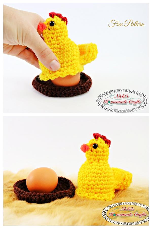 Egg Popping Chicken Egg Cozy Free Crochet Patterns